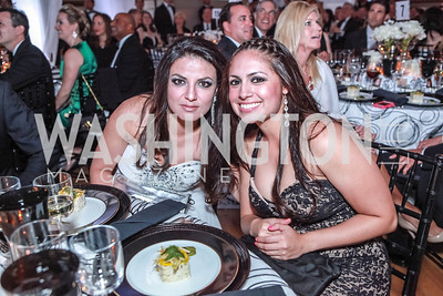 Aeli Menendez, Stephanie Casasola. The Children's National Black and White Ball. Mellon Auditorium. May 12, 2012. Photo Alfredo Flores