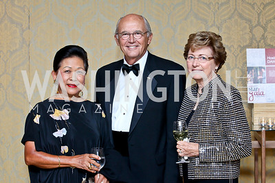 Elvi Moore, John and Linda Derrick. Photo by Tony Powell. theatreWashington Star Gala & Benefit Auction. Four Seasons. October 26, 2012