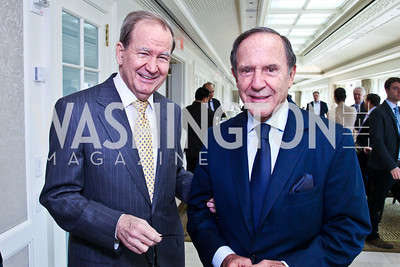 Pat Buchanan, Mort Zuckerman. McLaughlin Brunch. Photo by Tony Powell. Hay Adams. April 29, 2012
