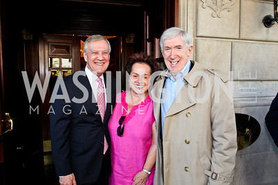 TV host Dennis Wholey, Amb. Claudia Fritsche, Under Sec. Robert Hormats. McLaughlin Brunch. Photo by Tony Powell. Hay Adams. April 29, 2012