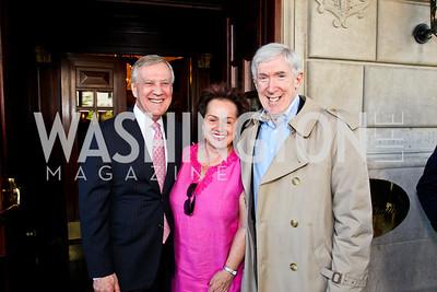 TV host Dennis Wholey, Amb. Claudia Fritsche, Under Sec. Robert Hormats. McLaughlin Brunch. Photo by Tony Powell. Hay Adams. April 29, 2012