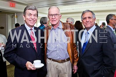 Sen. Roy Blunt, John McLaughlin, CBS President and CEO Les Moonves. McLaughlin Brunch. Photo by Tony Powell. Hay Adams. April 29, 2012
