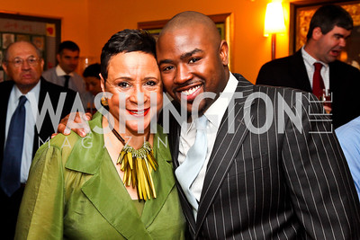 Sheila Johnson and son Brett Johnson. Tiger Woods Luncheon. Photo by Tony Powell. Cafe Milano. May 21, 2012