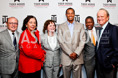 Franco Nuschese, Ann Jordan, Elizabeth Stevens, Tiger Woods, Bob Johnson, George Stevens. Tiger Woods Luncheon. Photo by Tony Powell. Cafe Milano. May 21, 2012
