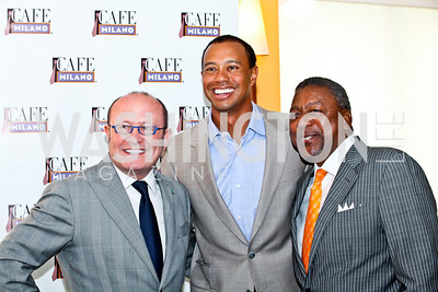 Franco Nuschese, Tiger Woods, Bob Johnson. Tiger Woods Luncheon. Photo by Tony Powell. Cafe Milano. May 21, 2012