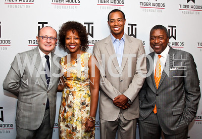 Franco Nuschese, Gina Adams, Tiger Woods, Bob Johnson. Tiger Woods Luncheon. Photo by Tony Powell. Cafe Milano. May 21, 2012