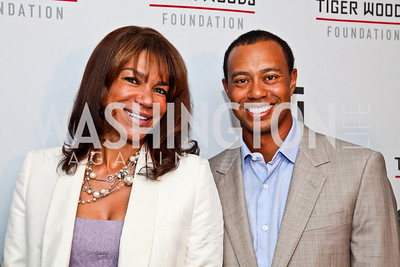 Ann Walker Marchant, Tiger Woods. Tiger Woods Luncheon. Photo by Tony Powell. Cafe Milano. May 21, 2012