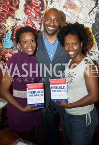 Allyson Criner Brown, Van Jones, Nzinga Tull.  Van Jones speaks about his book Rebuild the Dream at Busboys and Poets