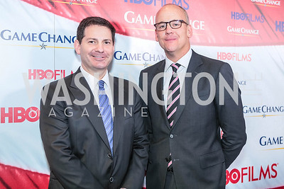 Mark Halperin, John Heilemann. Washington, DC premiere screening of the HBO Film GAME CHANGE with Julianne Moore‏. The Newseum. March 8, 2012.