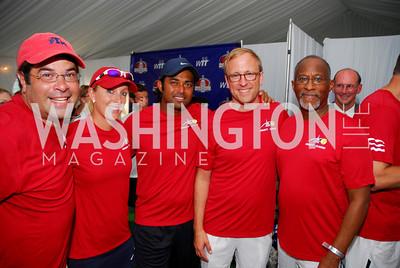 Neal Wolin, Anastasia Rodionova, Leander Paes, Jonathan Karl, Paul Quander, July 17,2012,Washington Kastles Charity Kick Off,Kyle Samperton