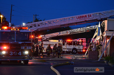 5/10/12 - Lower Paxton Township, PA - Firefighters mop up after battling a first alarm fire at the Tokyo Diner on Londonderry Road. Heavy fire met the first arriving units and an aggressive attack knocked the flames down in about 15 minutes.