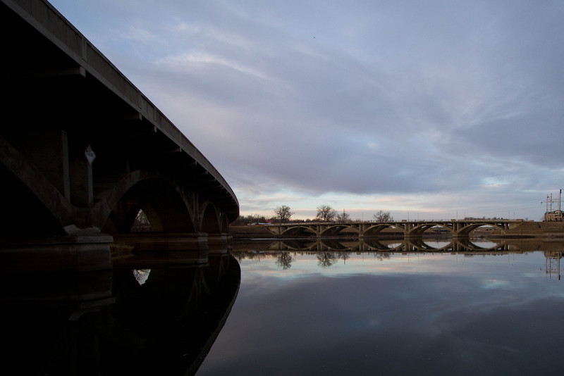 Day 53 - 22 February 2012<br /> Reflections at the confluents of the Des Moines and Raccoon Rivers