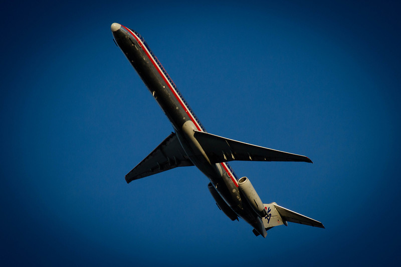 Day 57 - 26 February 2012<br /> I got home and started sorting through photos with my wife, we looked at this one and can you tell if it is real of a model......   It is real a MD-83 in flight.