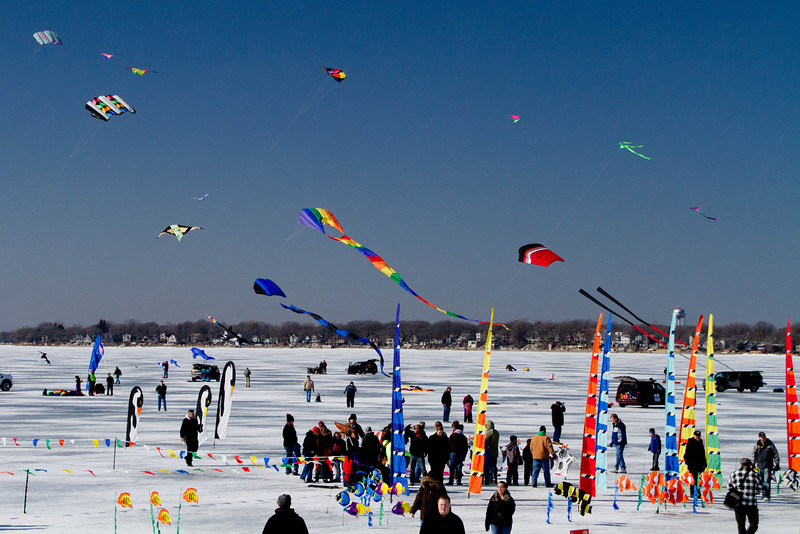 Day 49 - 18 February 2012<br /> Color the Wind Kite Festival on the frozen lake at Clear Lake Iowa.<br /> Temperature was in the upper 30's with 12-inches of ice on the lake.