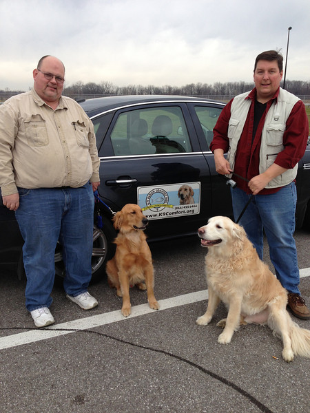 K-9 Comfort Dogs Barnabas (left with Dan Fulkerson) and Prince (right with Pastor Tim Engel).  This team is based out of Holy Cross Lutheran in Portage, Indiana