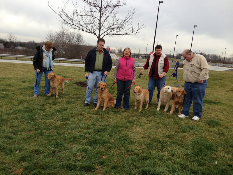 Teams from Indiana and Illinois have joined together.<br /> From left to right - Lynn Buhrke with Chewie, Tim Kurth with Luther, Dona Martin with Ruthie, Pastor Tim Engel with Prince, and Dan Fulkerson with Barnabas (Barney).