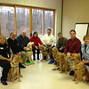 K-9 Comfort Dogs and handlers ready to serve - Sunday, December 16, 2012 at Christ the King Lutheran Church in Newtown, Connecticut.<br /> <br /> Left to right are Dona Martin with K-9 Ruthie, LCC president Tim Hetzner, Dan Fulkerson with K-9 Prince (Holy Cross - Portage, Indiana), Karen Fulkerson, Pastor Tim Engel with K-9 Barney (Holy Cross - Portage, Indiana), Tim Griffin with K-9 Abbi (ELIM - Palos Heights, Illinois), Tim Kurth with K-9 Luther and Lynn Buhrke with K-9 Chewie.