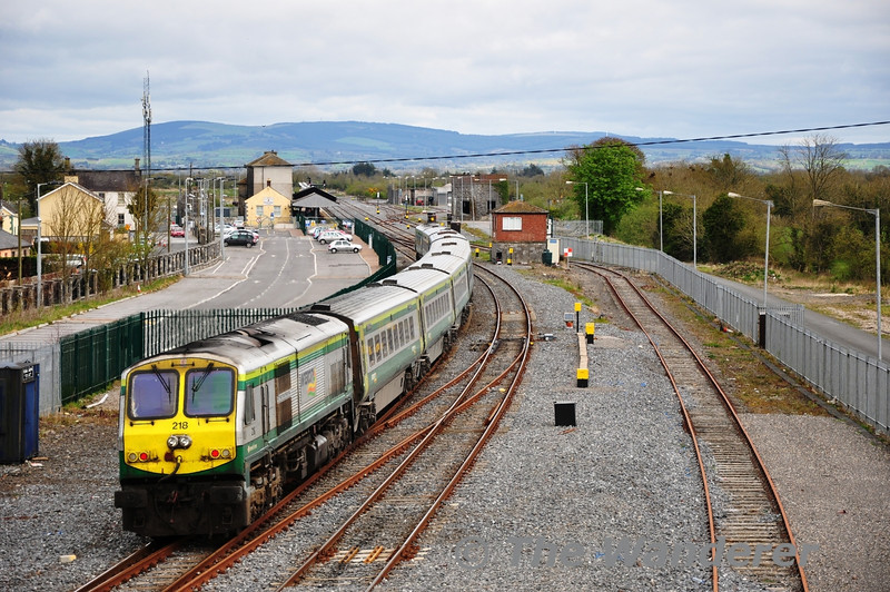 218 at the rear of the 1230 Cork - Heuston Intercity service. Sat 07.04.12