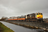 461 was not repaired in time for the Sunday RPSI Santa Specials so 076 was used. The 2nd Special of the day 1355 Pearse - Maynooth crosses Ryewater Aquaduct in Leixlip. Sun 16.12.12
