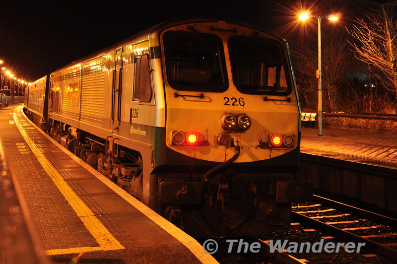 226 at the rear of the 1730 Cork - Heuston at Portarlington.  Wed 12.12.12