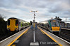 Cross Platform Interchange at Athlone awaits the Galway bound  passengers off the 1530 Heuston - Westport service which was worked by 22015 + 22005. <br /> <br /> Normally this train splits at Athlone with 3 carriages to Galway and 3 carriages to Westport but on this day the full six cars were bound for Westport. <br /> <br /> This change was to allow Sunday's 0745 Westport - Heuston to be increased in capacity to 6 carriages as Mayo G.A.A. Club Davitts are playing in Croke Park. Due to the heavy demand there is also a sold out Special service operating from Claremorris to Heuston. Sat 11.02.12