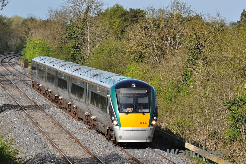 The 1700 Heuston - Cork was operated by High Capacity 22045 on Tuesday 15th May 2012. The 1330 Cork - Heuston had failed at Portlaoise due to a locomotive fault and the Standby 22000 unit covered the Cork service. Tues 15.05.12