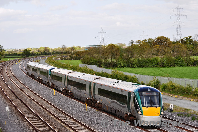 22029 + 22050  are pictured at Stacumny Bridge near Hazelhatch with the 1745 Heuston - Galway. Tues 15.05.12