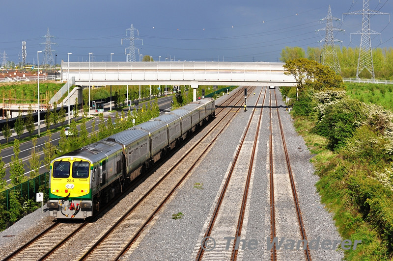 234 is on the rear of the delayed 1530 Cork - Heuston at Adamstown. Tues 15.05.12