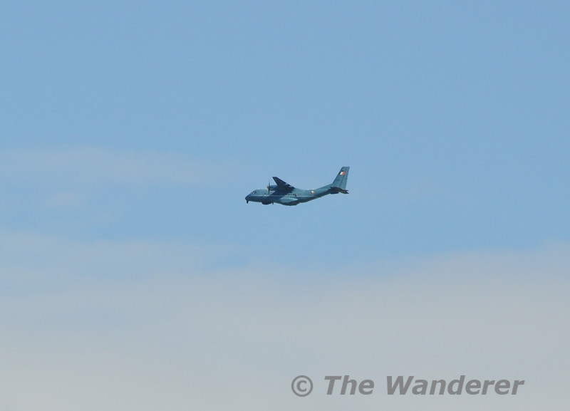 An Irish Air Corps Casa CN 235 Maritime Patrol Aircraft flys over Naas before landing at Baldonnel. Tues 15.05.12