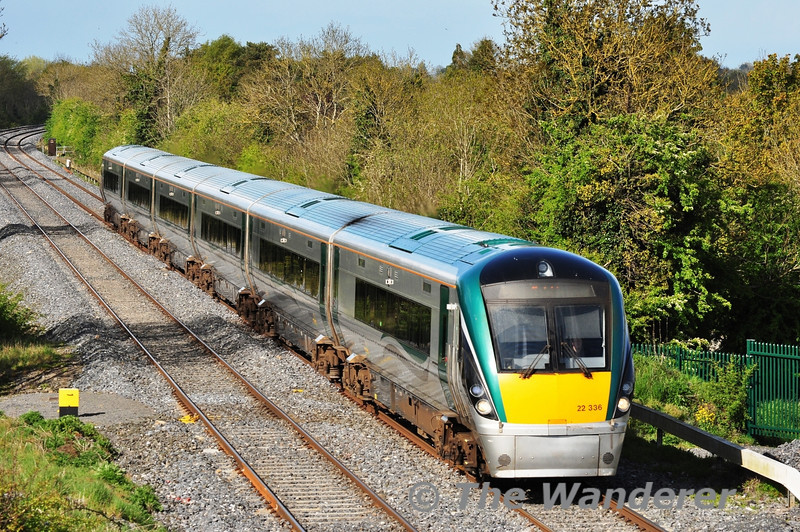 22036 at the Iron Bridge, Sallins with the 1705 Heuston - Tralee. Tues 15.05.12