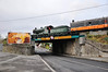 Unlike yesterday it was decided to run 461 and its train into the Per Way yard in Portlaoise. After getting the road into the Yard 461 crosses the Mountrath Road Bridge in Portlaoise. Wed 07.11.12