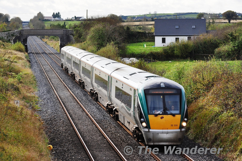 On Thursday 1st November the 1130 Cork - Heuston was strengthened to a 6 car set due to expected heavy loadings. 22031 is pictured passing Rosskelton between Ballybrophy and Portlaoise. Thurs 01.11.12