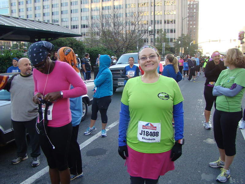 It was cold in the morning, and I was ready to run my first half marathon!