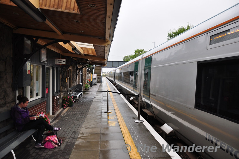 Westport Station on a dull and wet Saturday 1st September with 22033 waiting to depart with the 1745 to Dublin Heuston.