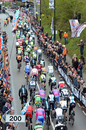 The peloton is not too stressed as it climbs the Cauberg for the first time, 75-kilometres into the race...