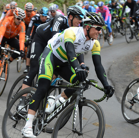 Simon Gerrans is all smiles as he descends a hill - but will he be so happy at the finish..?