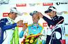 Cheers! Peter Sagan and Jelle Vanendert salute winner Enrico Gasparotto in Valkenburg...