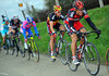 Greg Van Avermaet is chasing and sheltering Philippe Gilbert at the same time...