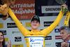 Luke Durbridge cannot hide a content smile as race-leader of the 2012 Dauphiné-Libéré...