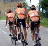 Sammy Sanchez has had a fall after 50-kilometres and rides in the company of two teamates, already seven minutes back...