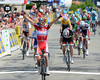 Daniel Moreno wins the uphill sprint into Saint Felicien ahead of Julian Simon and Tony Gallopin...