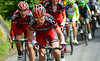 A big attack on the treacherous descent has put Cadel Evans in front with a bunch of BMC teamates..!