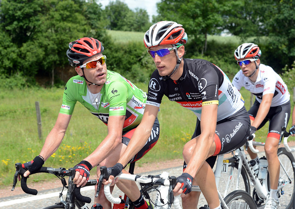 Schleck and Evans seem to be sharing a more serious conversation - maybe something to do with Bradley Wiggins..?