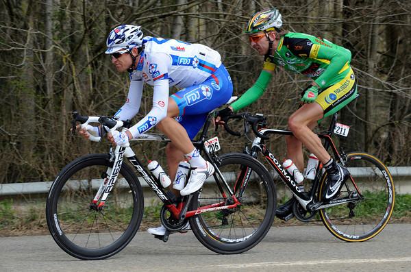 Anthony Roux has escaped with Dirk Bellemakers after 50-kilometres...