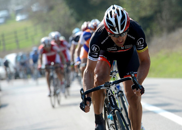 Cancellara is leading a split after the Kemmelberg - and that's the move Cavendish has missed..!