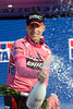 Taylor Phinney celebrates becoming the first Maglia Rosa of the 2012 Giro d'Italia...