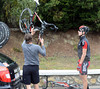 Taylor Phinney has found the need to change his bike...