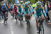 Kevin Seeldraeyers now leads the chase or Astana and Roman Kreuziger - and the final climb has begun..!
