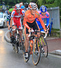 Amets Txurruka heads Cunego on the final climb, but the Maglia Rosa group is closing in fast...