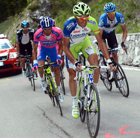 Ivan Basso applies the pressure as soon as the final climb begins - only Scarponi, Hesjedal, Rodriguez, Pozzovivo and Uran can stay with him...